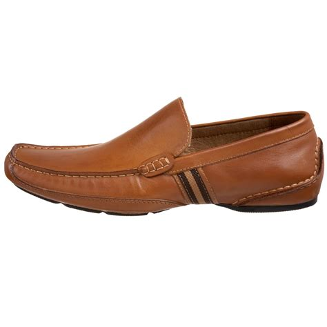 mens steve madden loafers steve madden valyant two stripe leather loafers in brown