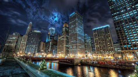 Download Wallpaper 2560x1440 Chicago City Night Lights Qhd Lights In Chicago