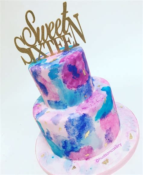 sweet 16 colors sweet 16 watercolor cake the hudson cakery