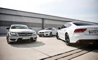 Bmw Vs Audi Vs Mercedes Mercedes Cls 63 Amg Vs Bmw M6 Gran Coupe Vs Audi Rs7
