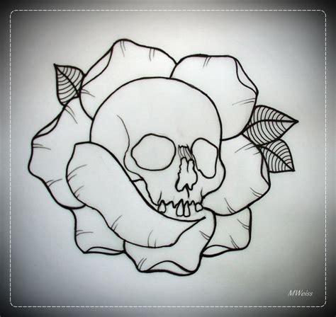skull in rose tattoo flash outline by oldskulllovebymw