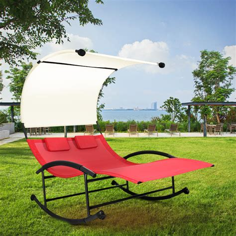 outdoor double chaise lounge with canopy ikayaa us stock outdoor double chaise rocker w canopy