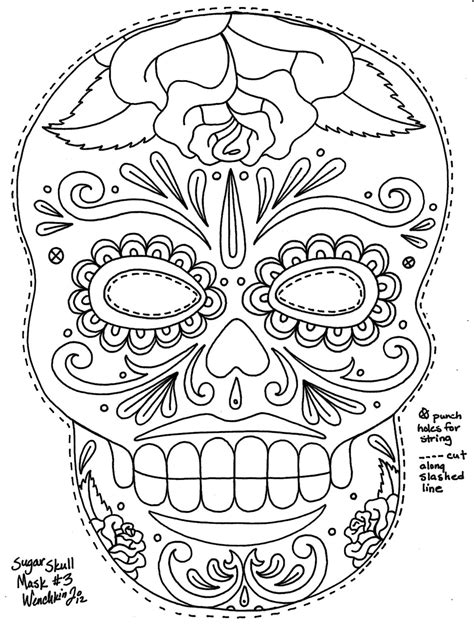 day of the dead skull mask template a great sugar skull mask template to color to