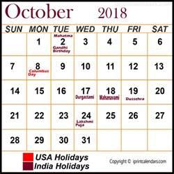 October 2018 Calendar With Holidays October 2018 Calendar With Holidays Templates Tools