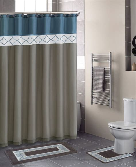 Blue Bathroom Shower Curtains Blue Grey Modern 15 Bathroom Set Bath Rugs Shower Curtain Ceramic Hooks Ebay