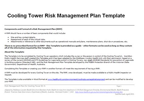 risk management plan template doc business letter template