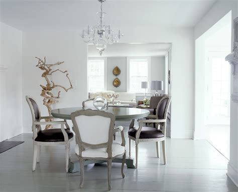 Gemma Comas White Dining Room Louis Xvi Brown Leather White Chandelier For Room
