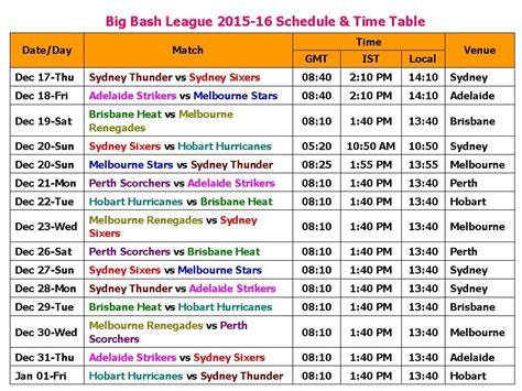 printable epl schedule 2015 16 big bash league 2015 16 schedule time table youtube