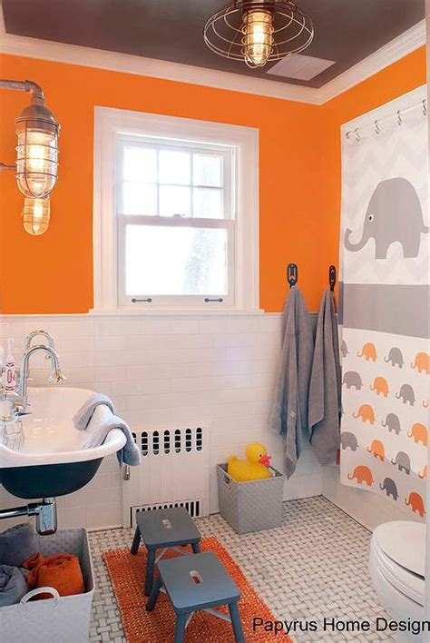 orange and grey bathroom interior design inspiration photos by papyrus home design