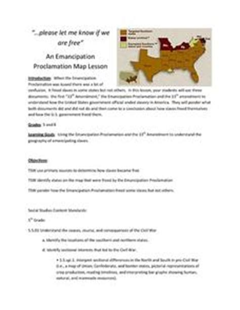 emancipation proclamation worksheet an emancipation proclamation map lesson 5th 8th grade lesson plan lesson planet
