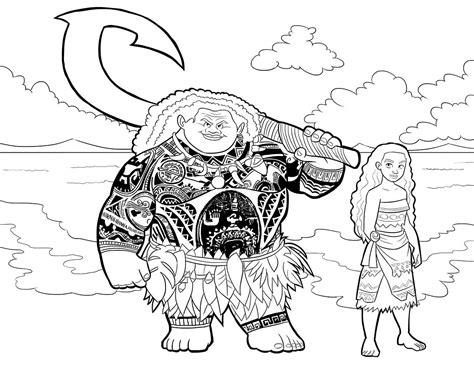 dibujos para colorear e imprimir gratis youtube dibujo para colorear de vaiana y mauie pel 237 cula de disney