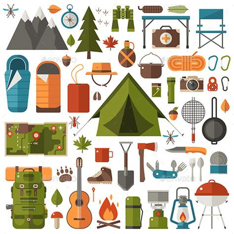 Capung Set hiking and cing set of equipment by krugli graphicriver