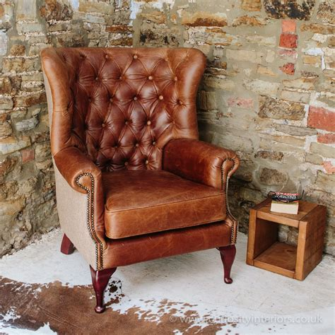 chesterfield style armchair tudor leather armchair with chesterfield style button back