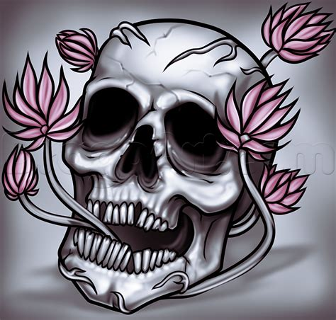 Flower Skull how to draw a skull and flowers step by step skulls pop