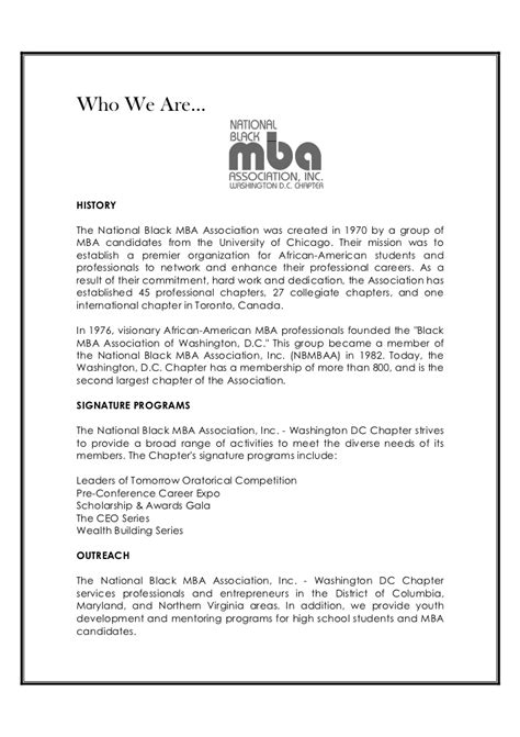 Washington Dc Chapter National Black Mba Association by 2011 Nbmbaa Dc Scholarship Awards Gala Program