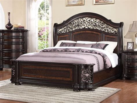 king iron bed allison wrought iron and wood king sleigh bed in dark brown