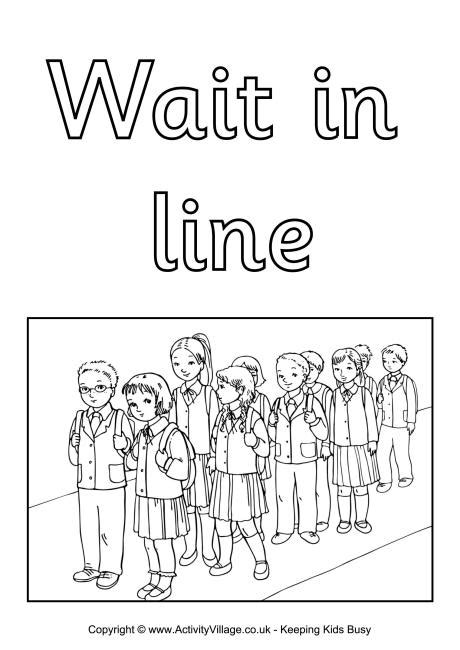 wait in line colouring poster