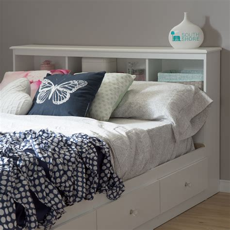 White Headboard With Crystals by South Shore Bookcase Headboard 54 White
