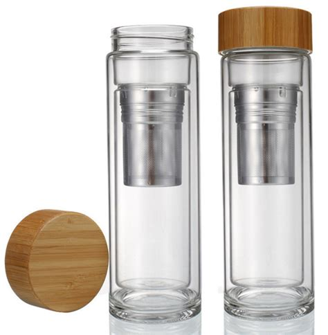 Wall Infuser Bottle Bamboo wall bamboo lid glass bottle with tea infuser water