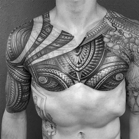 arm and chest tattoos for men 50 polynesian arm designs for manly tribal ideas
