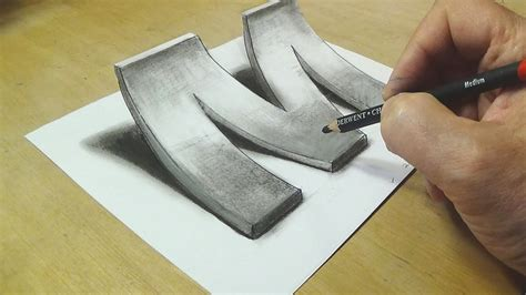 3d drawing free how to draw 3d letter m drawing with pencil trick