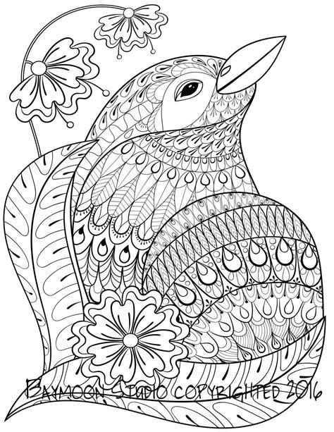 Aves flores página imprimible para colorear por