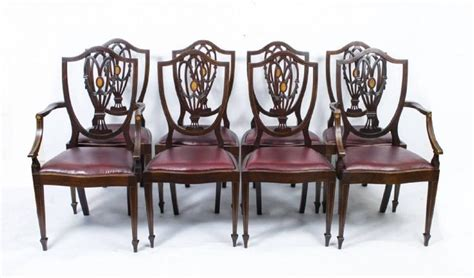 antique edwardian dining table with eight chairs circa