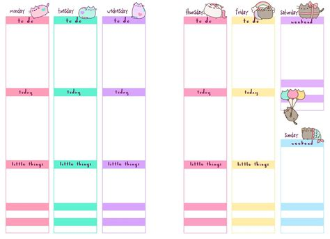 printable planner pb and j studio free printable planner inserts pusheen
