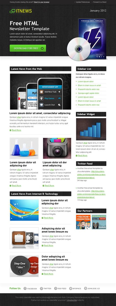 free html newsletter templates free html newsletter template it news free mail templates