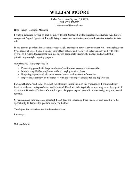 Job Resume Making by Best Payroll Specialist Cover Letter Examples Livecareer