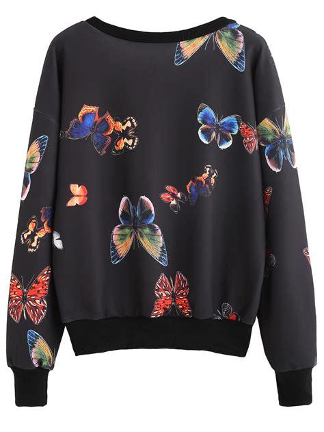 Barrow Butterfly Print Black Trim 1 black contrast trim random butterfly print sweatshirt shein sheinside