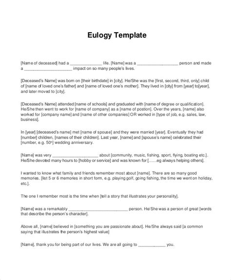 Eulogy Template by Eulogy Template Jeppefm Tk
