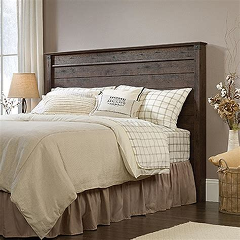 queen wood headboard sauder carson forge coffee oak full queen headboard 419887