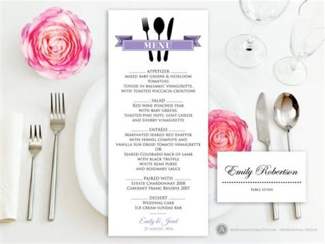 Wedding Anniversary Menu Ideas by Printable Dinner Menu Lilac Free Place Card For Wedding