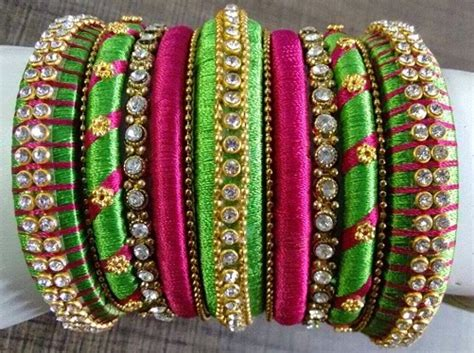 Handmade Bangles Designs - 15 collection of silk thread bangles in india 2018