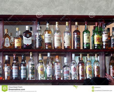 What Is The Shelf Of Bottled by Bottles Of Liquor At Hotel In Cuba Editorial Stock Image Image 63996034