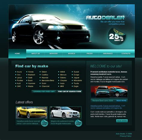 pro vehicle templates car dealer website template web design templates