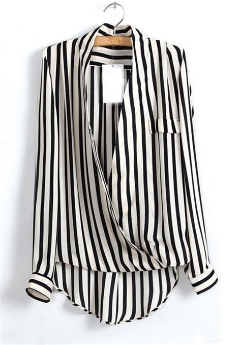 Blouse Stripe V Hijau multicolor striped ruffle v neck sleeve chiffon blouse