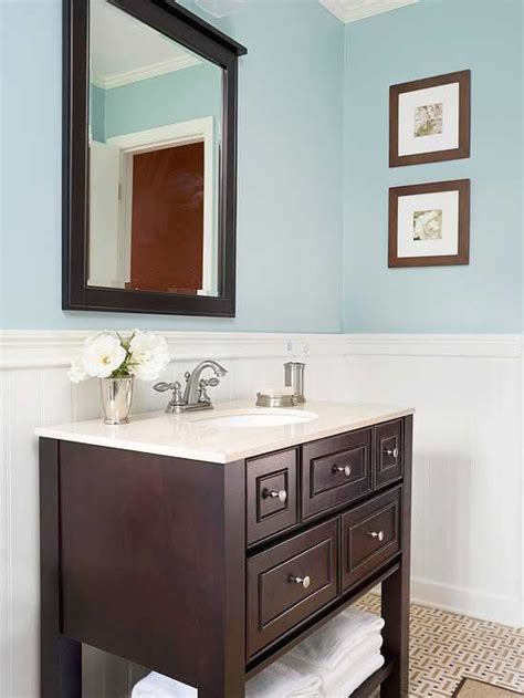 Colorful Bathroom Vanity Upgrade Your Home With Architectural Details Wainscoting Drawers And Bathroom Colors