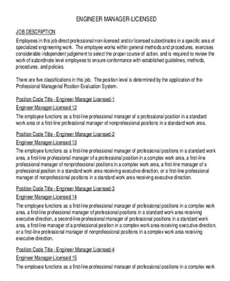 engineer manager description engineer manager description sle 8 exles in pdf