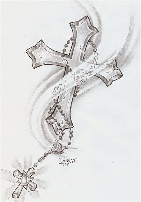 cross with a rosary tattoo rosary cross cross and rosary chapelet