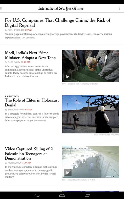 nytimes app for android the nytimes android app now lets you select an international edition