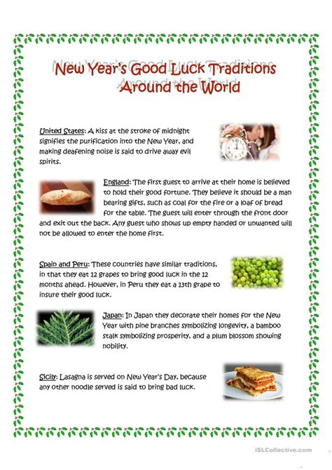new year traditions luck 25 free esl luck worksheets