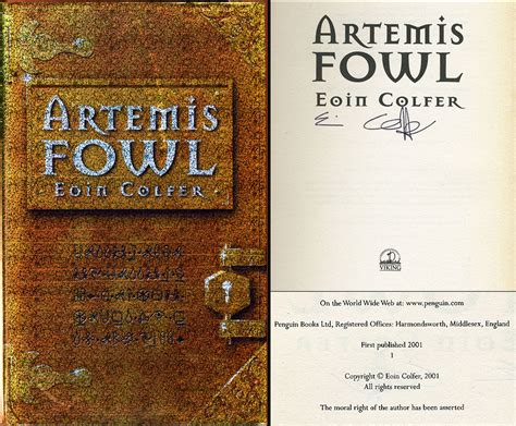 artemis a novel books artemis fowl by eoin colfer signed edition 2001