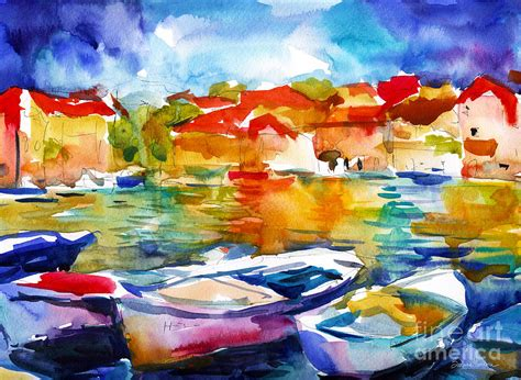 colorful painting colorful watercolor boats european water scape painting by