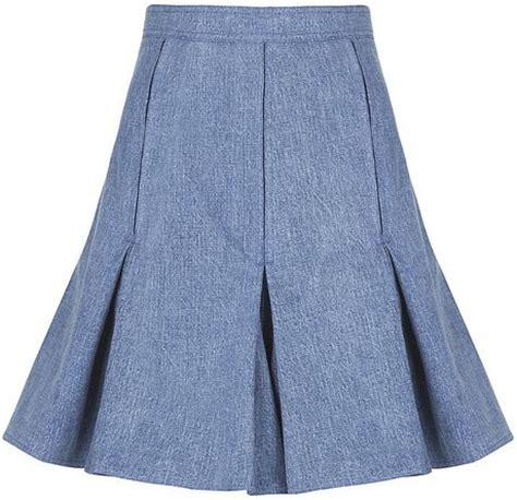 balmain flared denim skirt in blue denim lyst