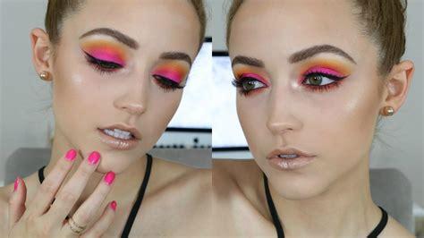 tutorial make up lipstik pink hot pink sunset makeup tutorial youtube