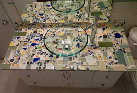 mosaic bathroom countertop mosaic backsplash