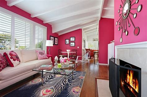 hot pink room color scheme hot pink and cool blue eclectic living home