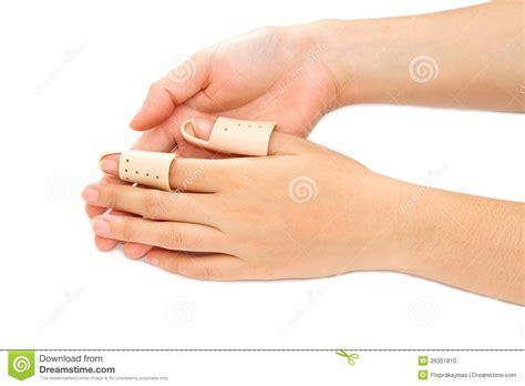 how to finger broken finger in a splint stock photo image 26351810